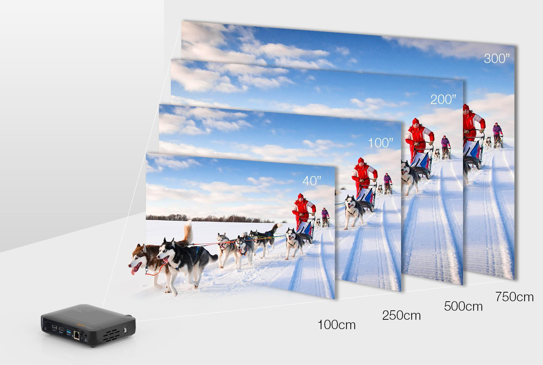 APEMAN modèle LED FULL HD distance de projection pico projecteur