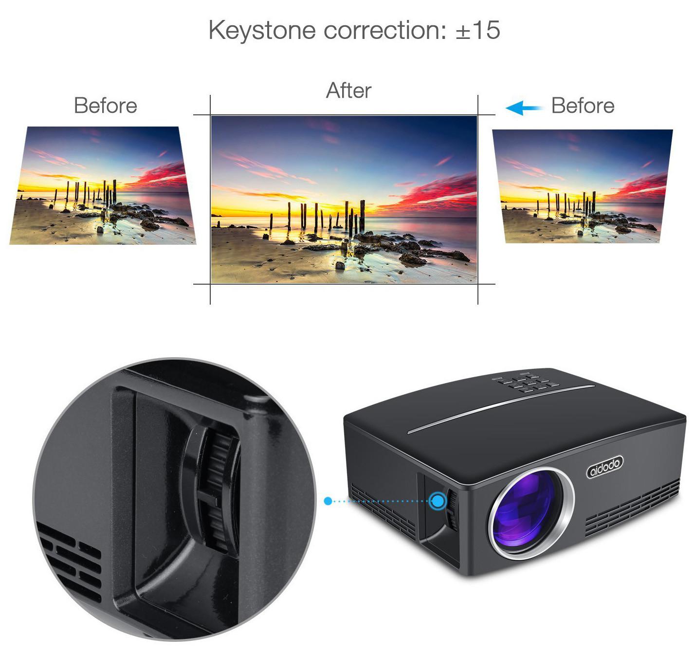 pico projecteur TOQIBO HD 1080P Correction écran