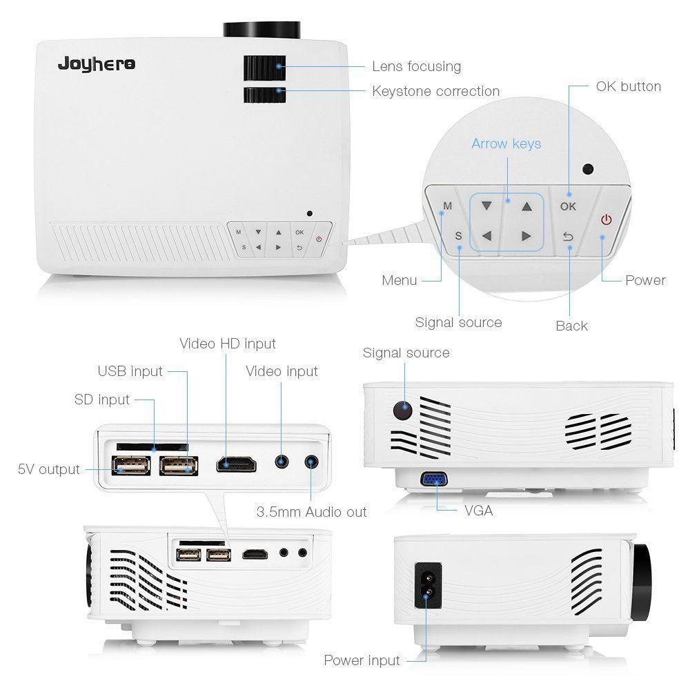 Mini Vidéoprojecteur 2000 Lumens HD 1080P Joyhero LED LCD luminosité connectivité