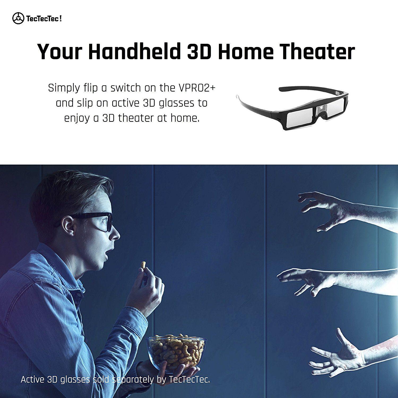 TecTecTec VPRO2+ Pico Projecteur HD 3D Lunettes 3D Home Theater