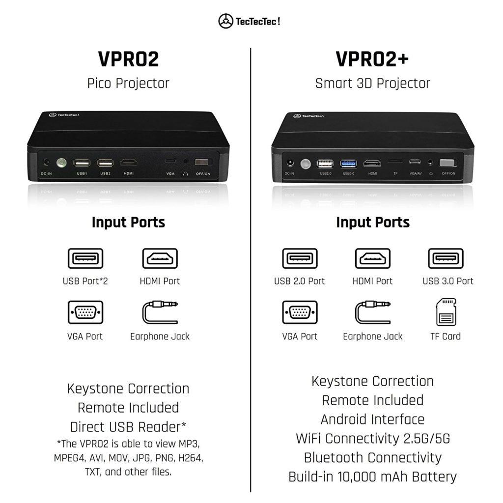 TecTecTec VPRO2+ Pico Projecteur HD 3D différences entre les modèles VPRO02 et VPRO02+