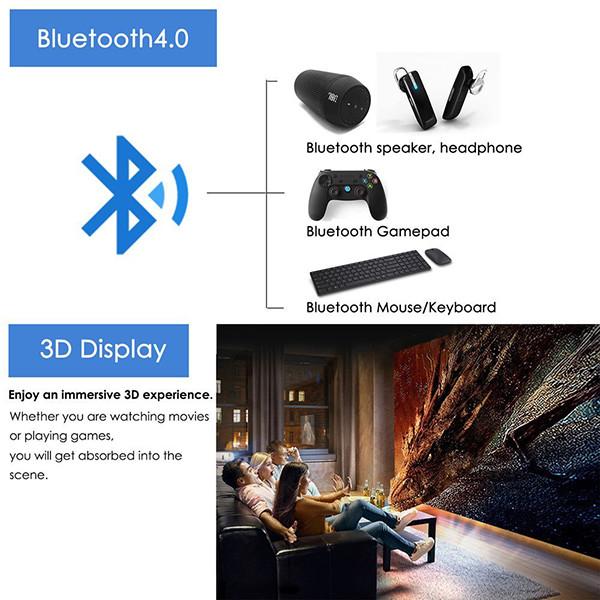 EUG Mini Smart Android DLP Projecteur 3d, HD Wireless LED Projecteur de poche pico WXGA 1280 x 800, Full HD 1080p détails techniques Android-Bluetooth
