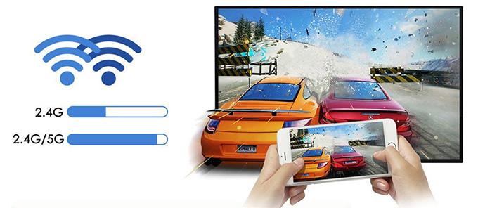 EUG Mini Smart Android DLP Projecteur 3d, HD Wireless LED Projecteur de poche pico WXGA 1280 x 800, Full HD 1080p options qualité d'image et distance Android sans fil Wireless
