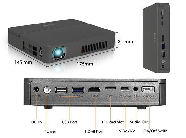 EUG Mini Smart Android DLP Projecteur 3d, HD Wireless LED Projecteur de poche pico WXGA 1280 x 800, Full HD 1080p détails techniques