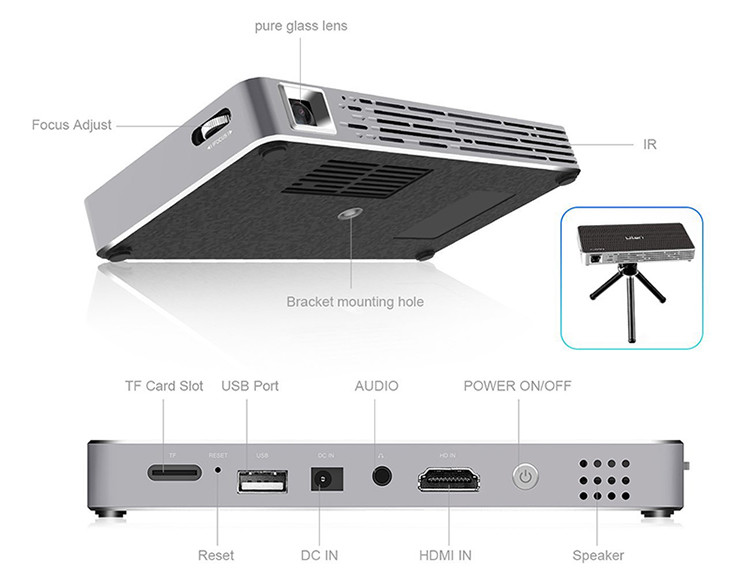 Mini Vidéoprojecteur Portable ,Uten Mini Wifi DLP Projecteur 150 Lumen,Max HD 1080P,Ajustement automatique des trapèzes,Home cinéma/Vidéo TV/ Jeux détails techniques