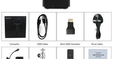 ExquizOn Mini Vidéoprojecteur HD, S6 Projecteur DLP 1080P sans Fil Support HD Pico WiFi Batterie Intégrée