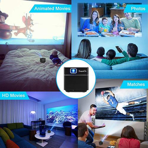 ExquizOn Mini Vidéoprojecteur HD, S6 Projecteur DLP 1080P sans Fil Support HD Pico WiFi Batterie Intégrée Compatible avec HDMI Micro Carte SD