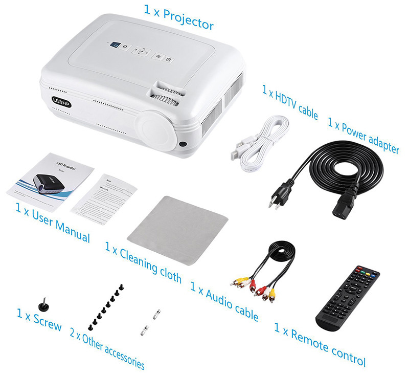 Vidéoprojecteur LESHP HD 1080P HD 3200 Lumens