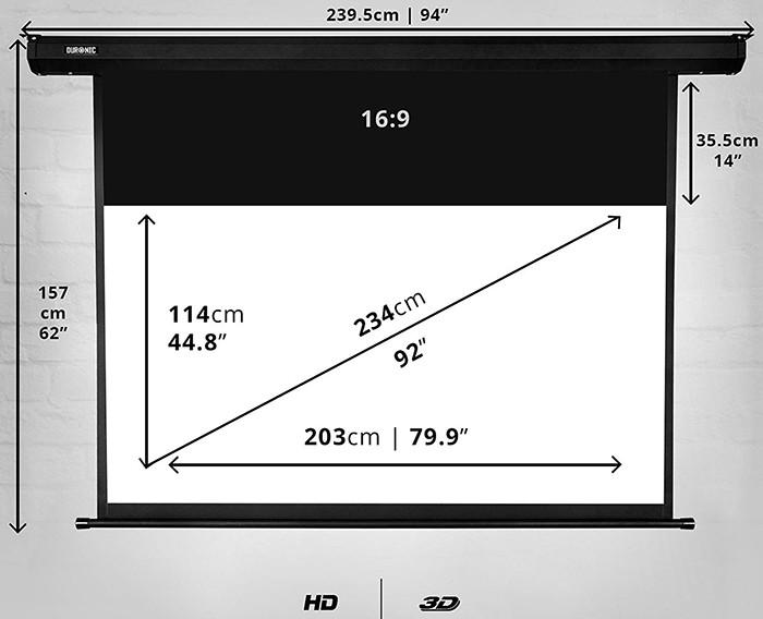 Duronic EPS92 169 Ecran de projection électrique motorisé 92 pouces
