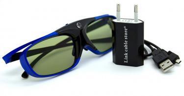 LCS - 1 Paire de lunette 3D actives DLP-LINK avec Adaptateur secteur