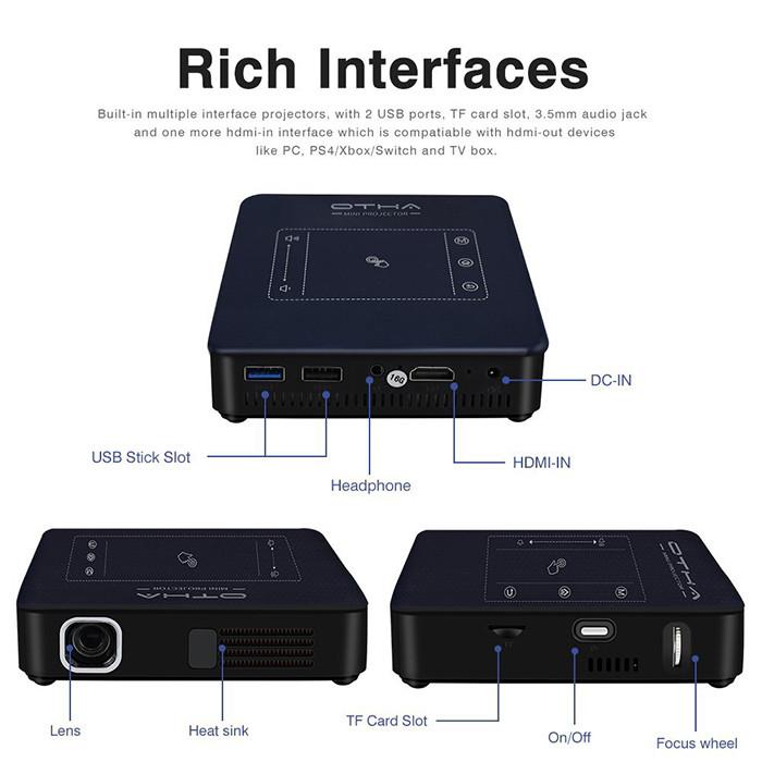 OTHA Vidéoprojecteur Wifi, Mini Projecteur Portable