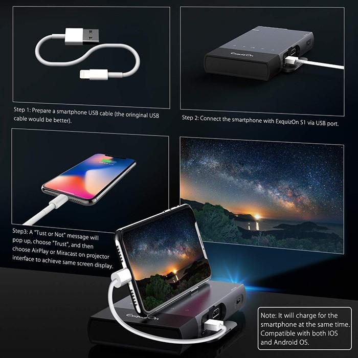 Pico Projecteur Vidéoprojecteur Full HD, ExquizOn S1 Mini Projecteur Portable 100 Ansi Lumens