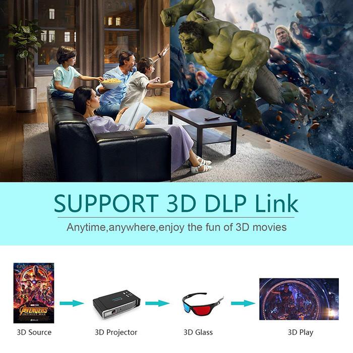 Tenswall Vidéoprojecteur 3800 Lumens Mini DLP Projecteur 1280x800 Soutien 1080P 4K