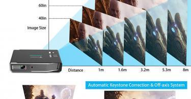 Tenswall Vidéoprojecteur 3800 Lumens Mini DLP Projecteur 4K