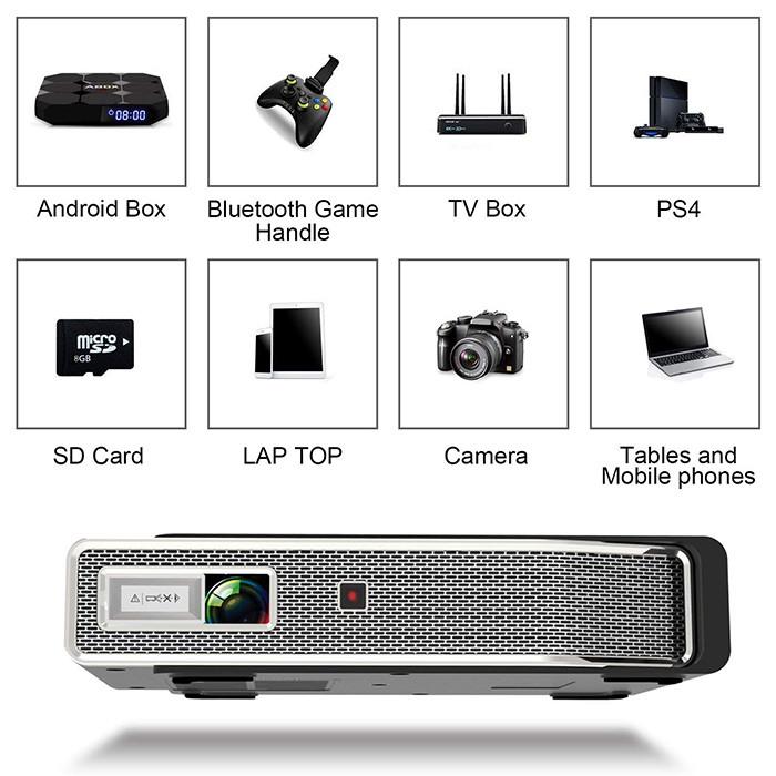 Tenswall Vidéoprojecteur 3800 Lumens Mini DLP VidéoProjecteur 4K