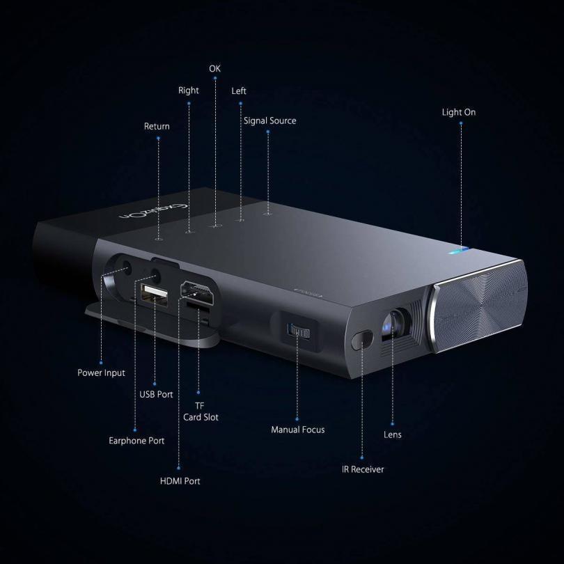Vidéoprojecteur Full HD, ExquizOn S1 Mini Projecteur Portable