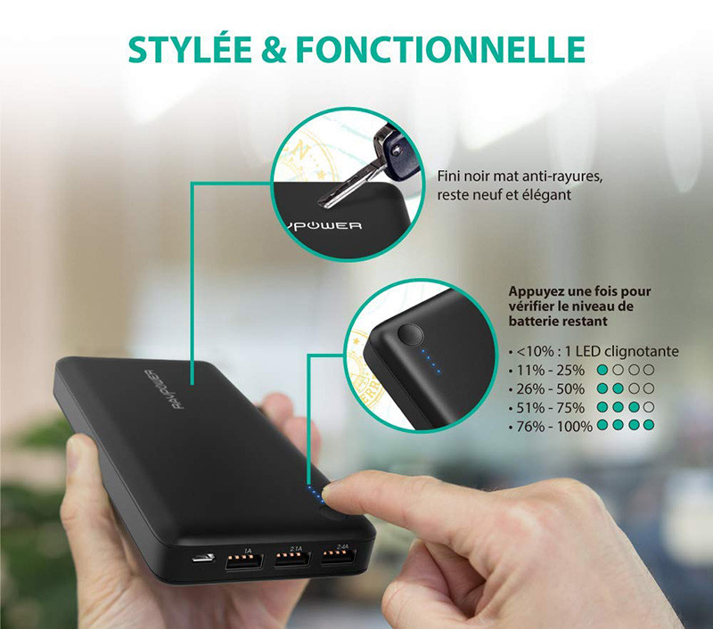 Batterie Externe 26800mAh RAVPower 3 Ports USB Chargeur Portable Li-polymère