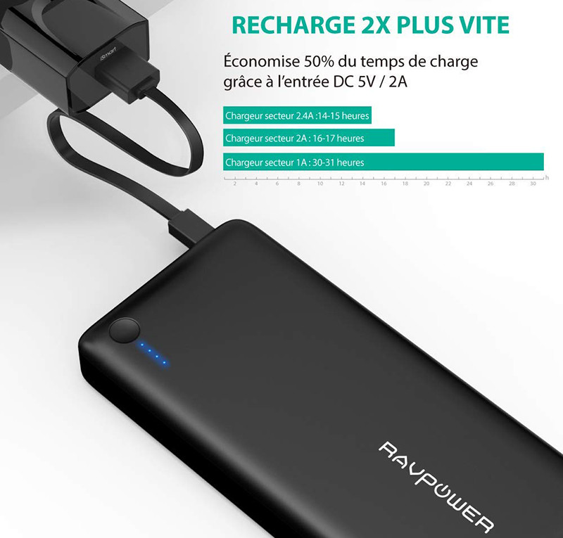 Batterie Externe 26800mAh RAVPower 3 Ports USB, Chargeur Portable Li-polymère