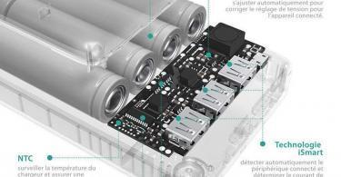 Batterie Externe 26800mAh RAVPower 3 Ports USB - Chargeur Portable Li-polymère