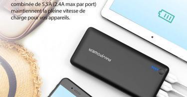 Batterie Externe 26800mAh RAVPower 3 Ports USB, Chargeur Portable Li-polymère Autorisé
