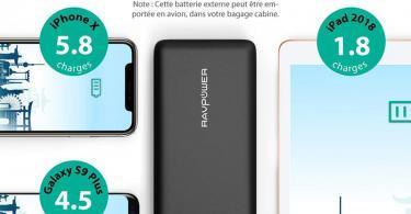 Batterie Externe 26800mAh RAVPower 3 Ports USB, Chargeur Portable Li-polymère Autorisé en Avion