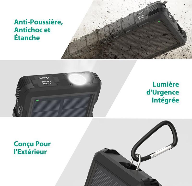 Chargeur Solaire Portable RAVPower 25000mAh Batterie Portable