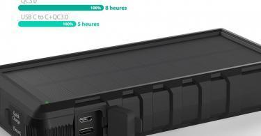 Chargeur Solaire Portable RAVPower 25000mAh avec Entrées