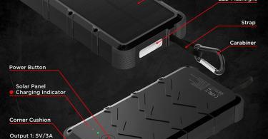 OUTXE Charge Rapide 20000mAh Chargeur Solaire Batterie Externe Robuste 4A Double Entrée