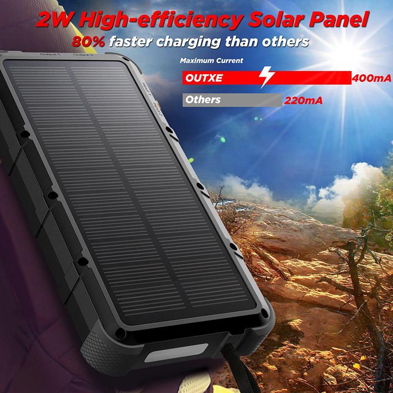 OUTXE Charge Rapide 20000mAh Chargeur Solaire Batterie Externe