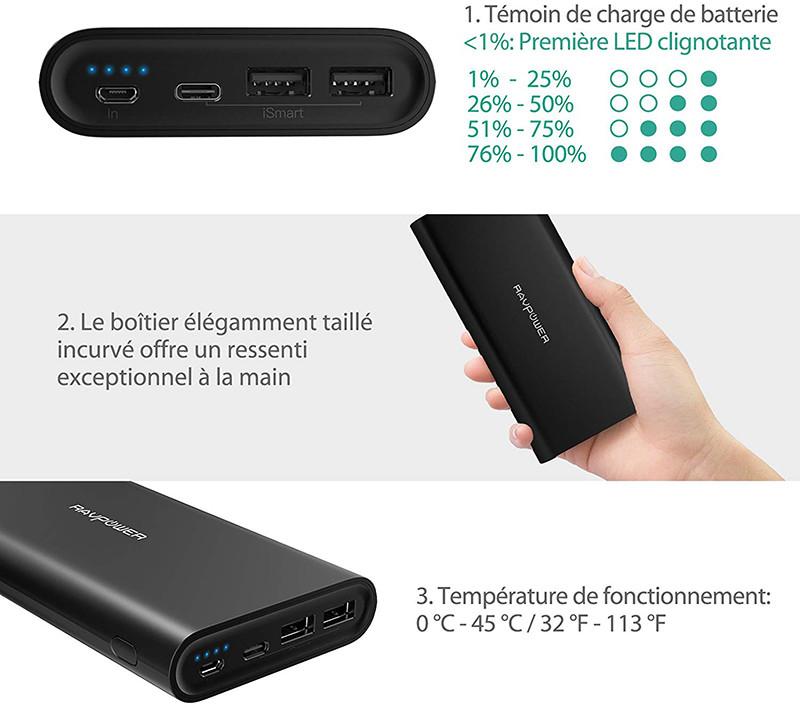 USB C RAVPower Chargeur Portable Batterie Externe