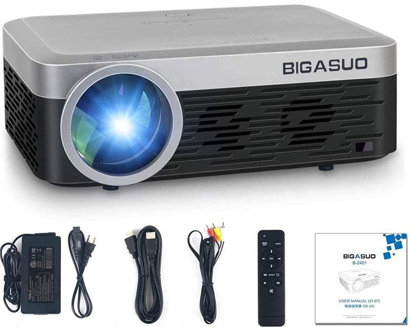 BIGASUO Mini Vidéoprojecteur 1080P Full HD Projecteur Bluetooth