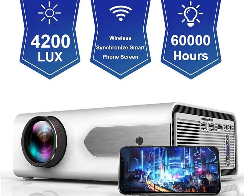 HOLLYWTOP Vidéoprojecteur WiFi Home Cinéma Mini Vidéo Projecteur de 4200 Lumens