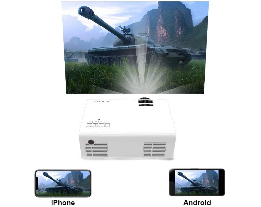 Test HOLLYWTOP Vidéoprojecteur WiFi Home Cinéma, Mini Vidéo Projecteur de 4200 Lumens