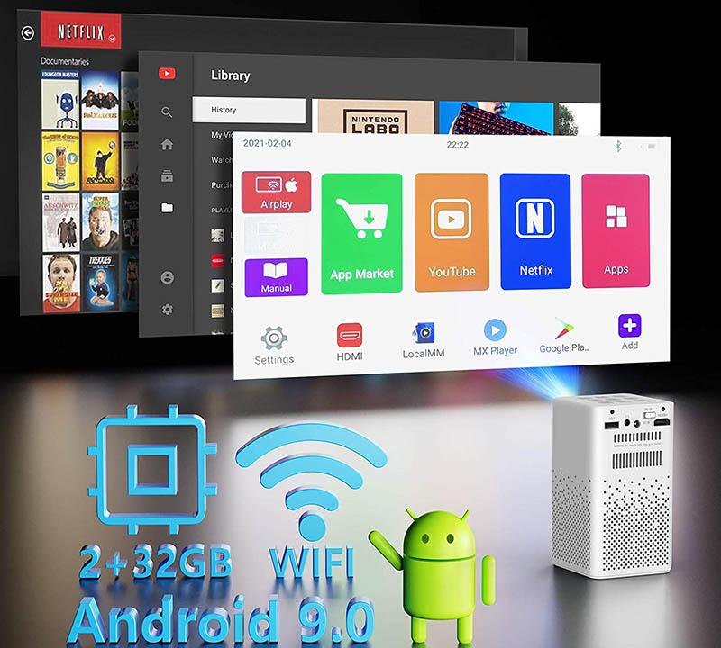 test yaufey Mini Projecteur 150 ANSI Lumens DLP Ultraportable Vidéoprojecteur Batterie Intégrée et Système Android 9.0