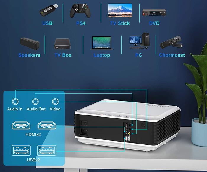Vidéoprojecteur TOPTRO 8200 Lumens 5G WiFi Bluetooth Full HD 1080P