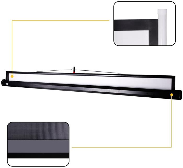avis test CCLIFE Écran de Projection, 85 à 99 Pouces 4K HD 16 9 Écran de Projection avec Trépied Réglable et Télécommande