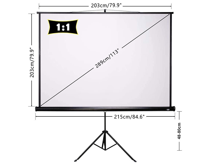 test CCLIFE Écran de Projection, 85 à 99 Pouces 4K HD 16 9 Écran de Projection avec Trépied Réglable et Télécommande