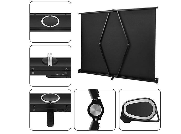 test Yangers Écran de Projection Portable de 50 Pouces, écran de Table à Enroulable Home Cinéma Pliable Retractable avec Support pour présentation